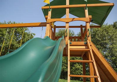Gorilla-Playsets-Outing-W-Trapeze-Bar-Wooden-Swing-Set-Slide-Close-Up