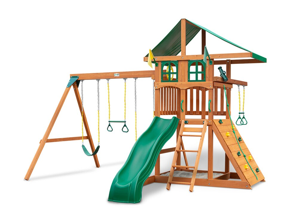 Gorilla-Playsets-Outing-W-Trapeze-Bar-Wooden-Swing-Set-Window-Option