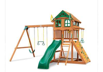 Gorilla-Playsets-Outing-W-Trapeze-Bar-Wooden-Swing-Set-Wood-Roof