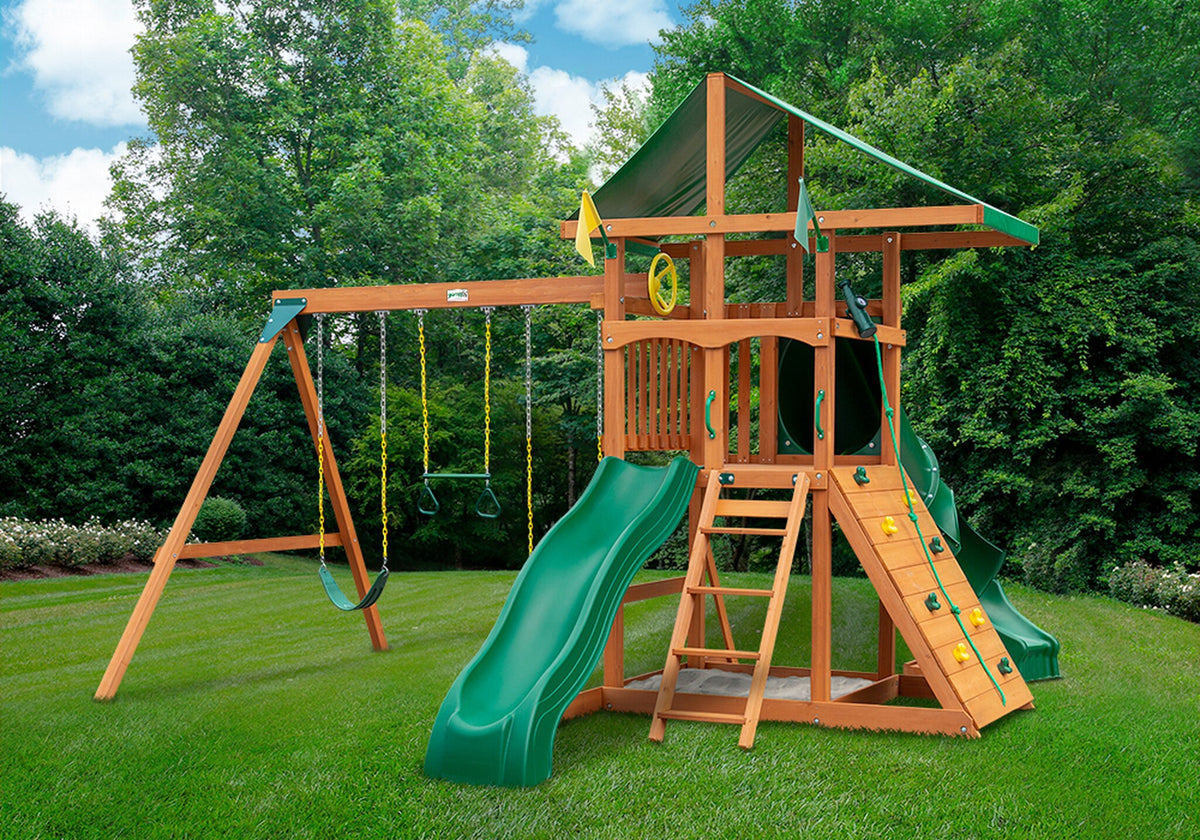 Gorilla-Playsets-Outing-W-Tube-Slide-Wooden-Swing-Set-Front