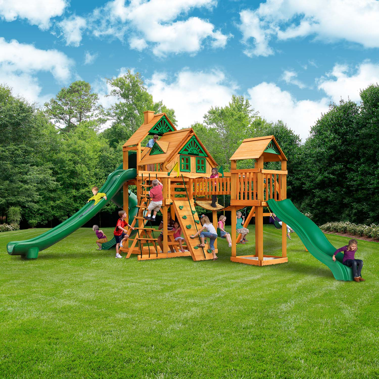 Gorilla Playsets Treasure Trove Ii Treehouse Wooden Swing Set Nj