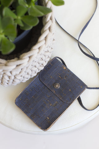 Mini Cork Crossbody Bag in Blue