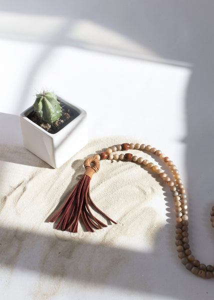 Brown Suede & Druzy Mala Necklace