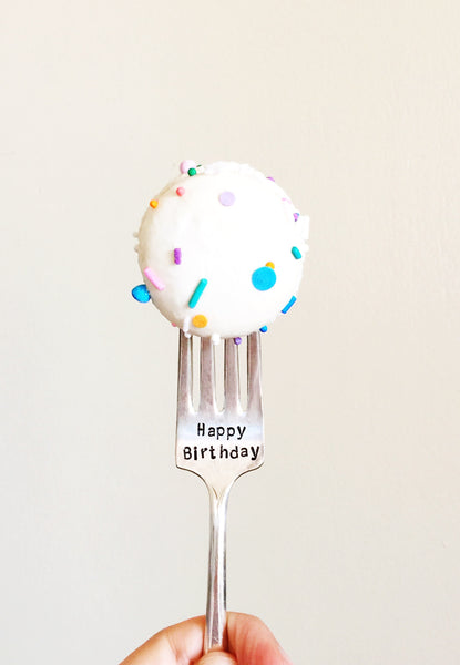 Happy Birthday Vintage Silverware Fork