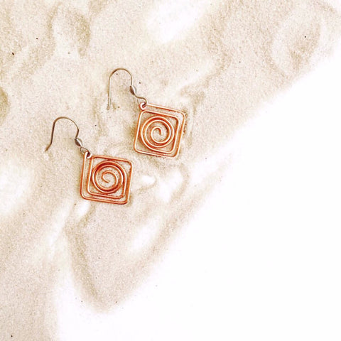 Copper Spiral Square Earrings