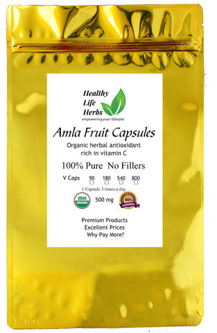 Amla Capsules 500 mg 90 > 800 ct - Certified USDA Organic