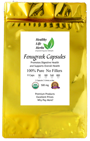 Fenugreek Capsules 500 mg 90 > 800 ct - Certified USDA Organic
