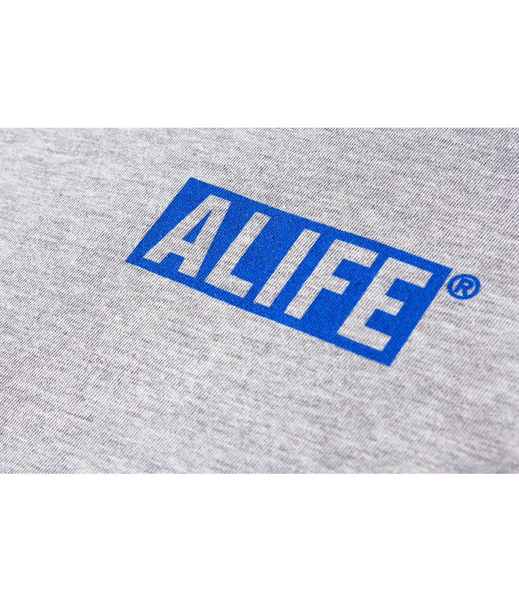 ALIFE® BOX LOGO T-SHIRT [GREY / BLUE]