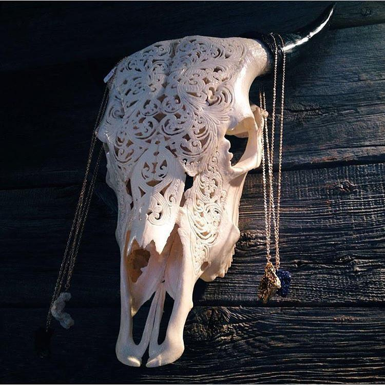 Carved Cow Skull - Tribal #6