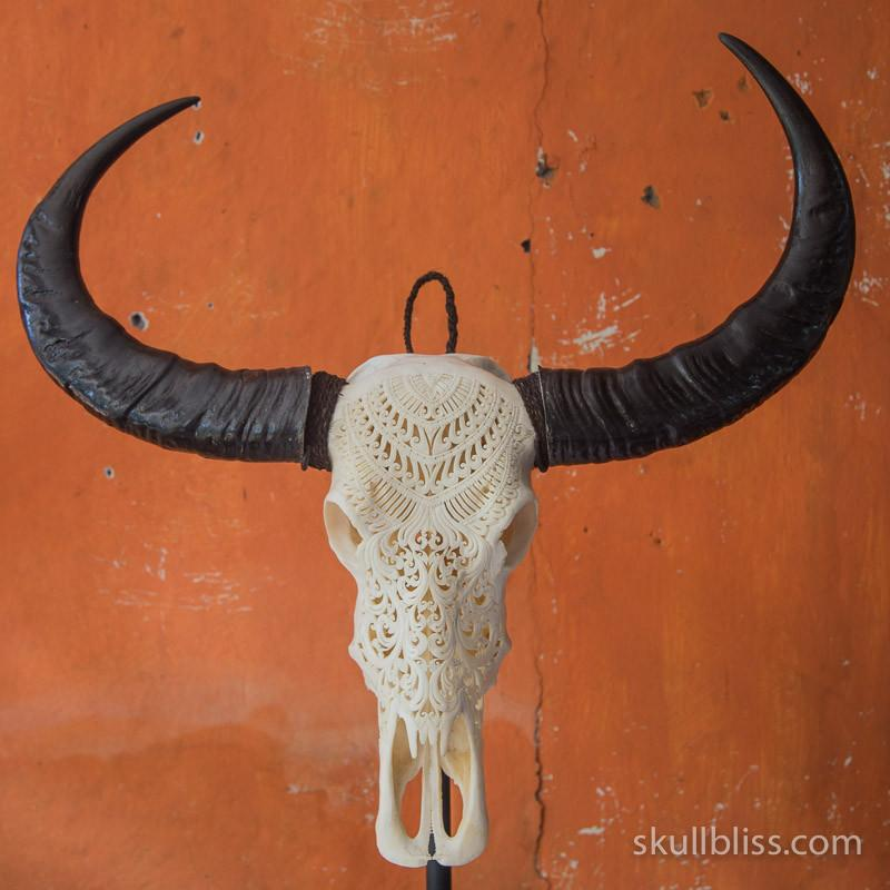 Carved Buffalo Skull - Tribal #9