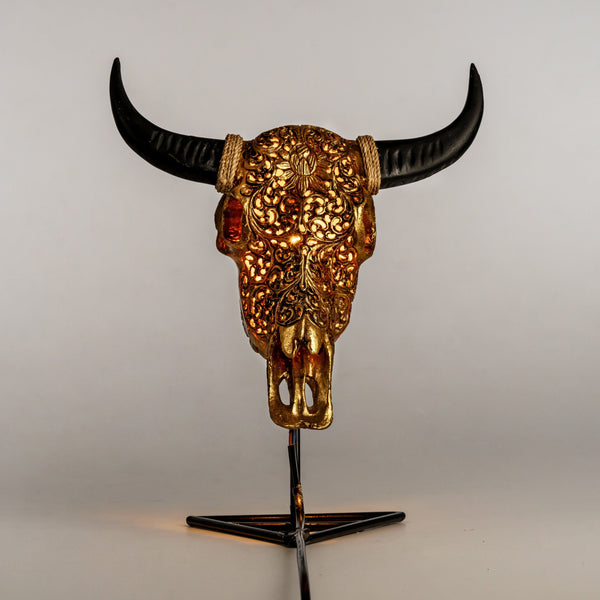 Skull Lamp - Golden Lotus