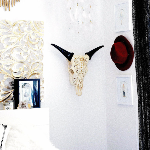 Carved Cow Skull - Tribal #8