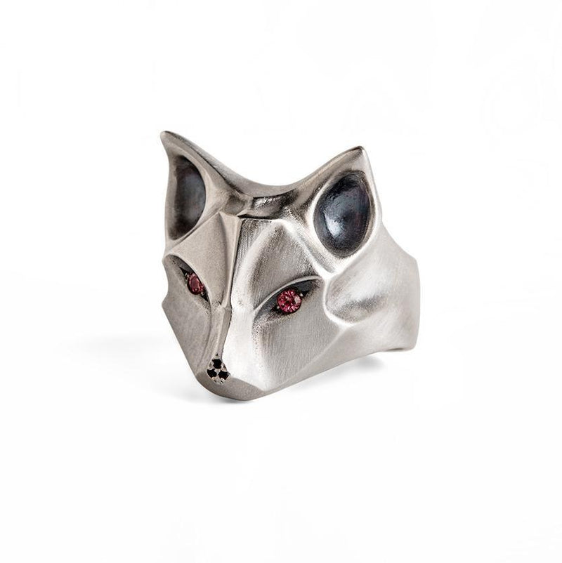ELINA GLEIZER Fox Ring with Bronze Sapphire Eyes and a Black Nose