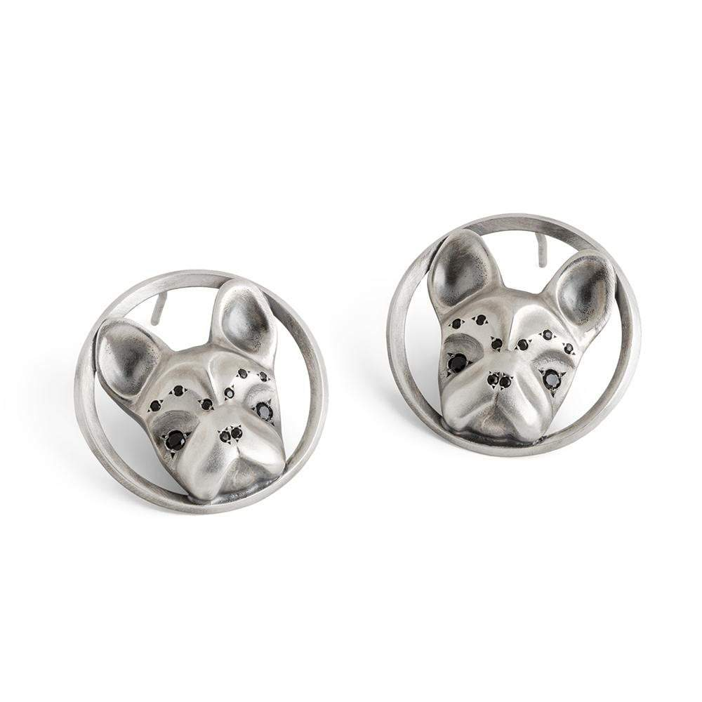 ELINA GLEIZER  French Bulldog Stud Earrings