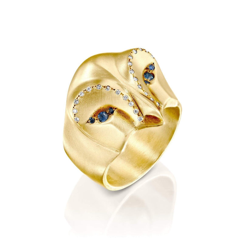ELINA GLEIZER Gold Snowy Owl Ring with Blue Sapphires and White Diamonds