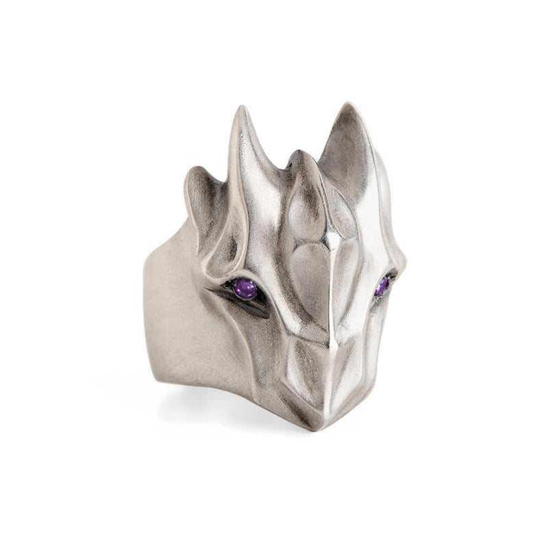 ELINA GLEIZER Jewelry Dragon Ring With Amethyst Eyes