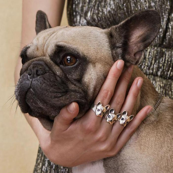 ELINA GLEIZER Jewelry French Bulldog Ring With Pink & Blue Sapphires