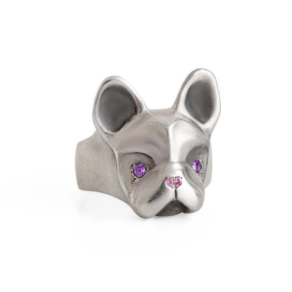 ELINA GLEIZER Jewelry French Bulldog Ring With Purple & Pink Setting