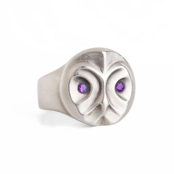 ELINA GLEIZER Jewelry Great Grey Owl Ring With Amethyst Eyes