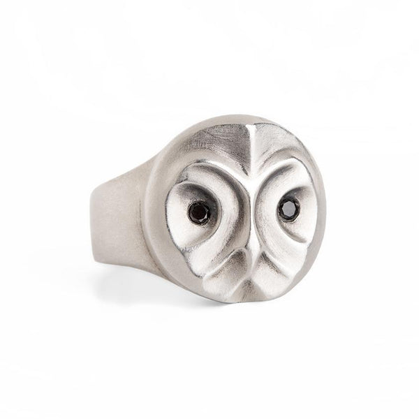 ELINA GLEIZER  Jewelry Great Grey Owl Ring With Black Diamonds