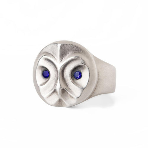 ELINA GLEIZER Jewelry Great Grey Owl Ring With Blue Sapphires