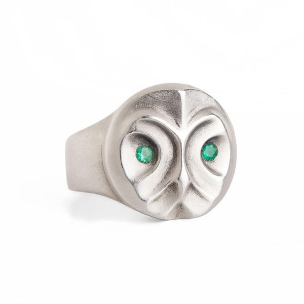ELINA GLEIZER Jewelry Great Grey Owl Ring With Emerald Eyes
