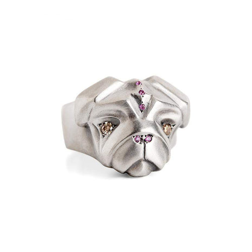 ELINA GLEIZER Jewelry Lady Pug Ring with Champagne Diamonds & Pink Sapphires