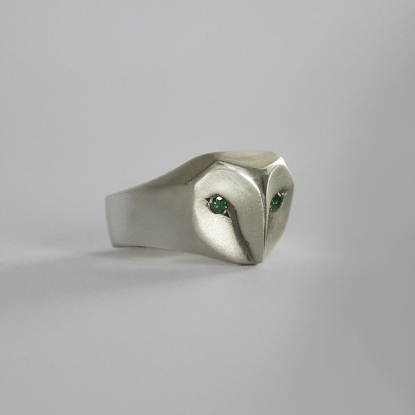 ELINA GLEIZER Jewelry Owl Ring with Forest Green Diamonds