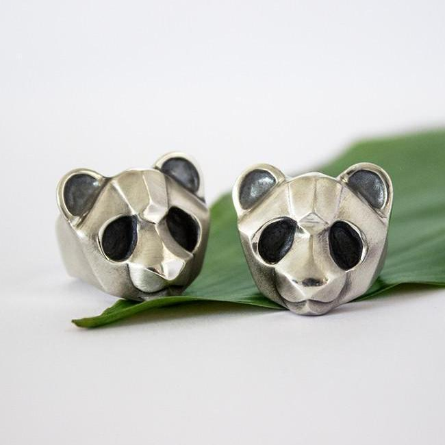 ELINA GLEIZER  Jewelry Panda Ring with Black setting