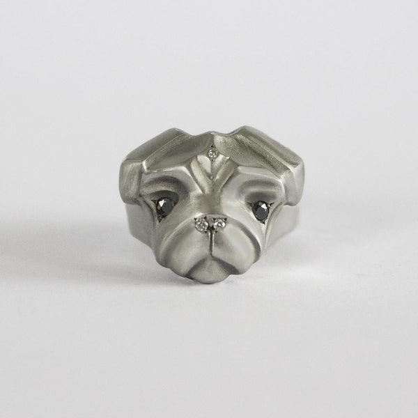 ELINA GLEIZER Jewelry Pug Ring with Black & White Diamonds