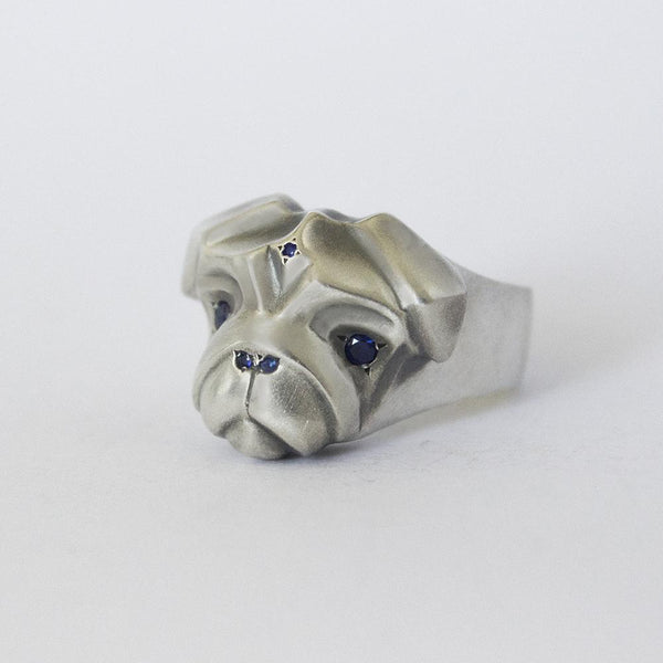 ELINA GLEIZER Jewelry Pug Ring with Blue Sapphires