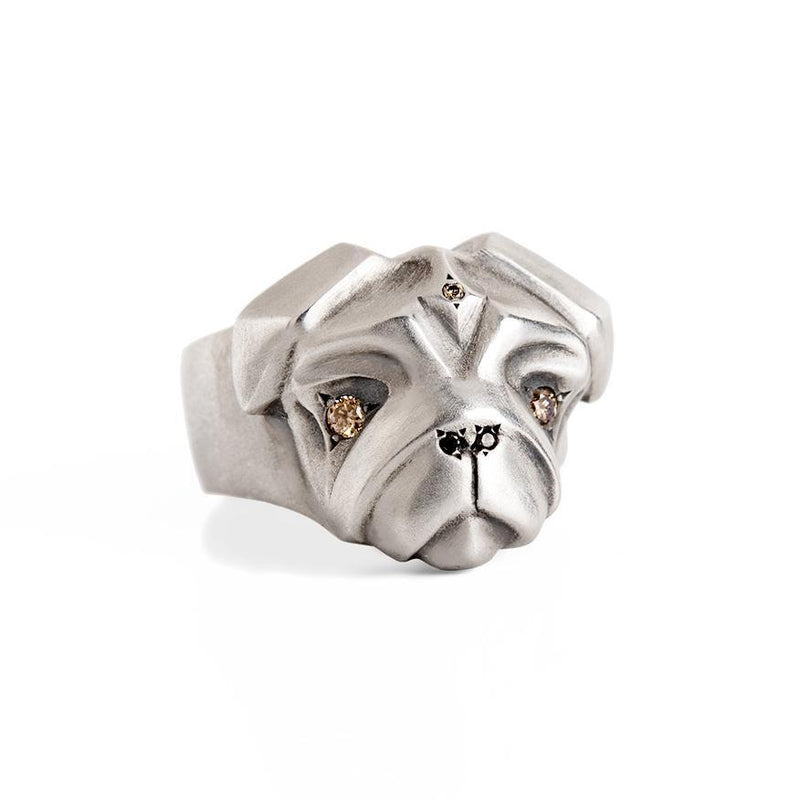 ELINA GLEIZER Jewelry Pug Ring with Champagne Diamonds