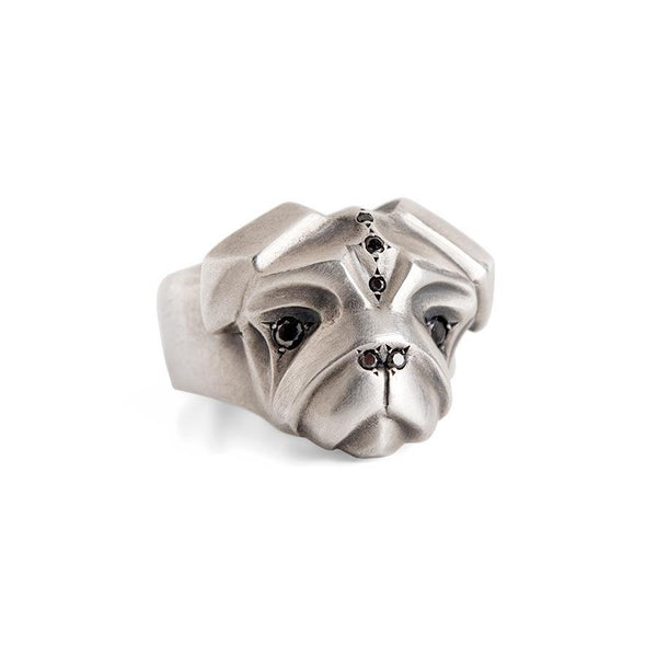 ELINA GLEIZER Jewelry Pug Ring with Fancy Black Diamonds Setting