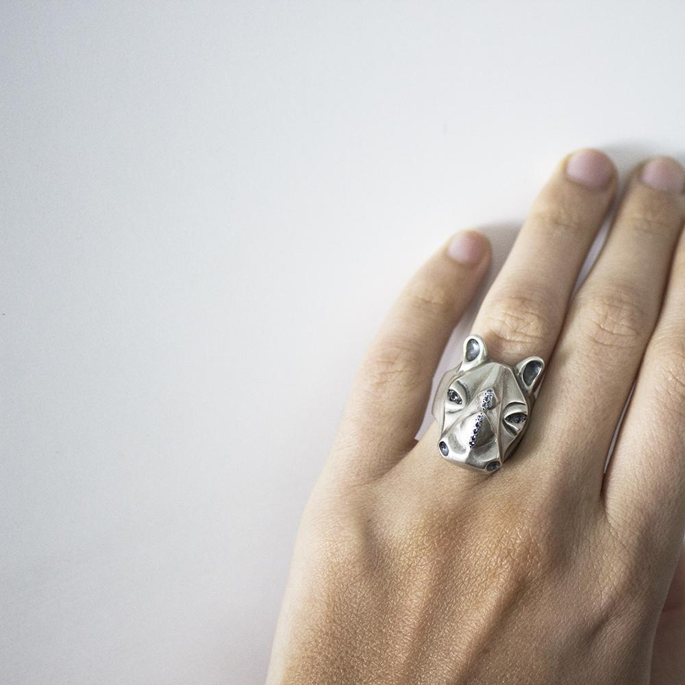 ELINA GLEIZER Rhino Ring with Amethyst Eyes