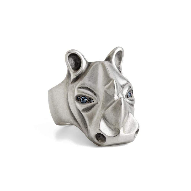 ELINA GLEIZER Rhino Ring with Light Blue Sapphire Eyes