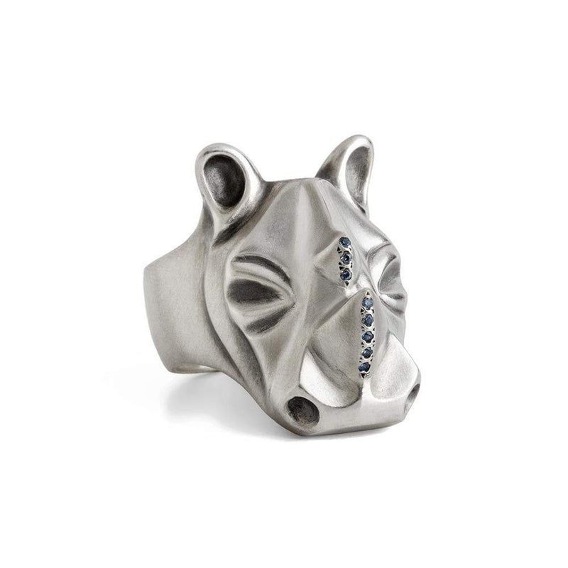 ELINA GLEIZER Rhino Ring with Light Blue Sapphire Horns