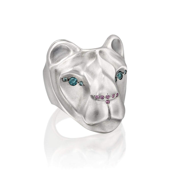 ELINA GLEIZER Rings Lioness Ring with Blue Diamond eyes & Pink Nose
