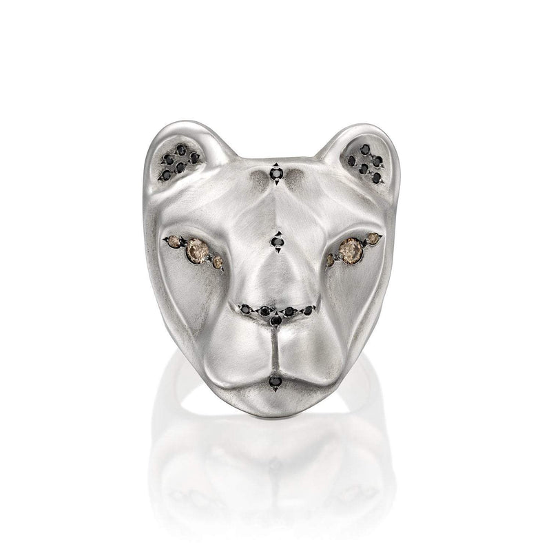 ELINA GLEIZER Rings Lioness Ring, with Majestic Black & Champagne Diamonds