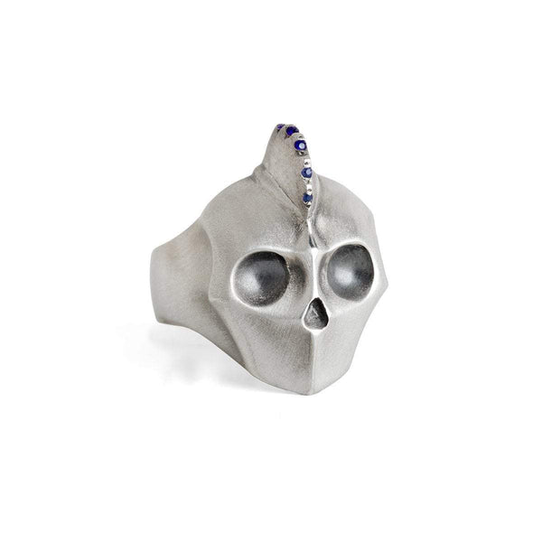 ELINA GLEIZER Select Your Size / blue-sapphire Mohawk Skull with Blue Sapphires setting