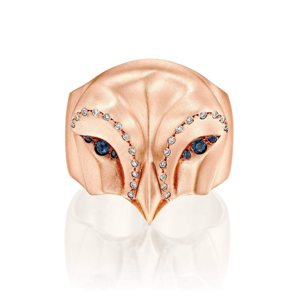 ELINA GLEIZER Select Your Size / Rose Gold Rose Gold Snowy Owl Ring with Blue Sapphires and White Diamonds