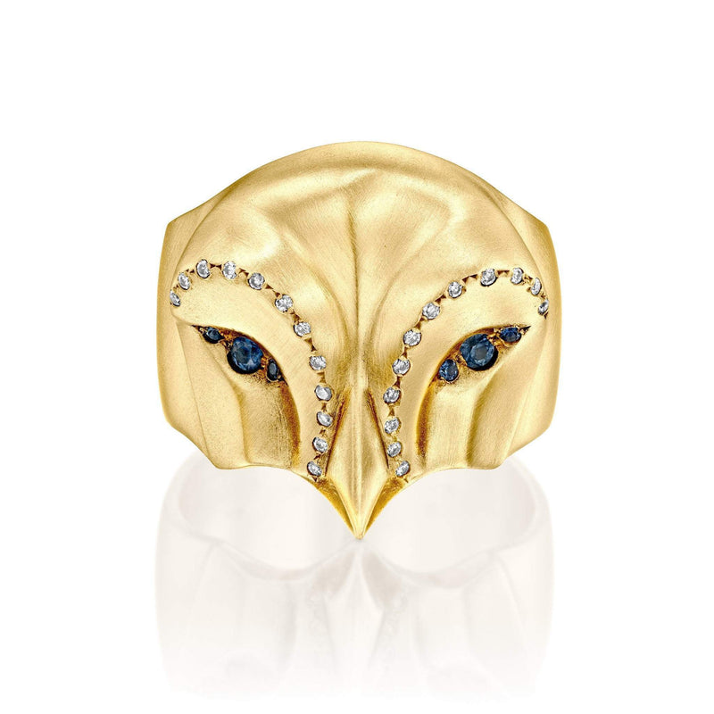 ELINA GLEIZER Select Your Size / Yellow Gold Rose Gold Snowy Owl Ring with Blue Sapphires and White Diamonds