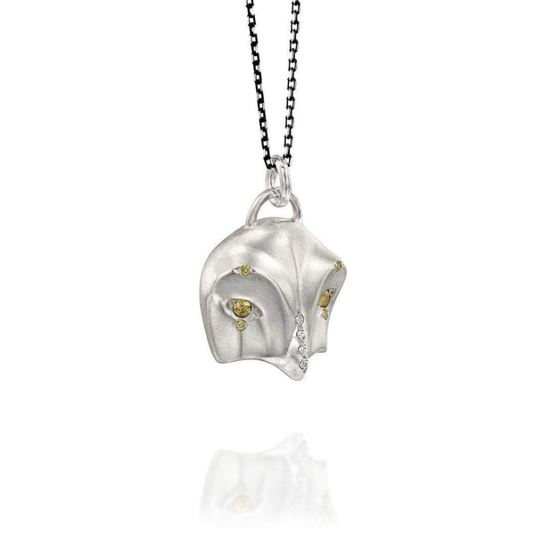 ELINA GLEIZER Snowy Owl Necklace with Sapphires