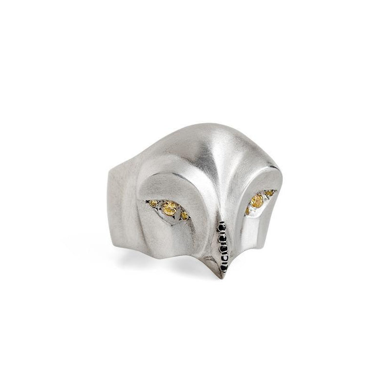 ELINA GLEIZER  Snowy Owl Ring with Yellow Sapphire Eyes and Black Beak