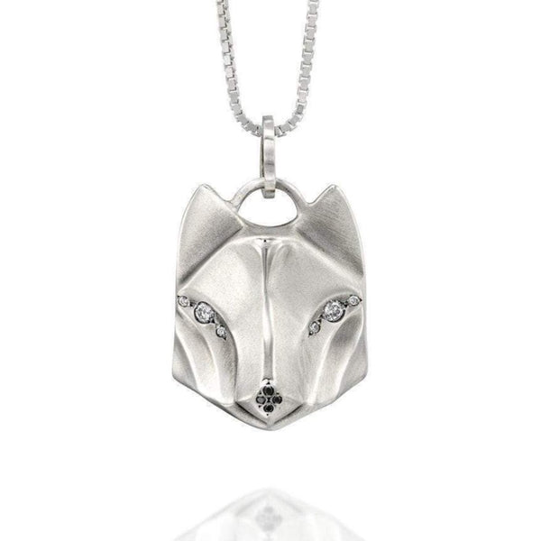 White Diamond Wolf Necklace