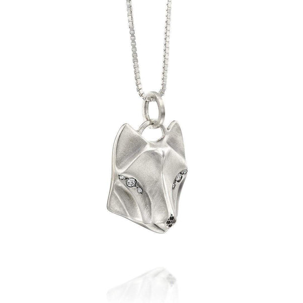 ELINA GLEIZER White Diamond Wolf Necklace
