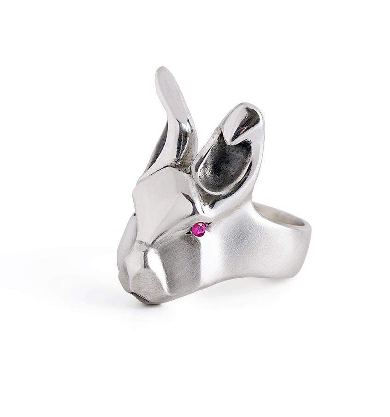 ___ Jewelry 3 / ruby White Rabbit Ring with Purple Amethysts Eyes