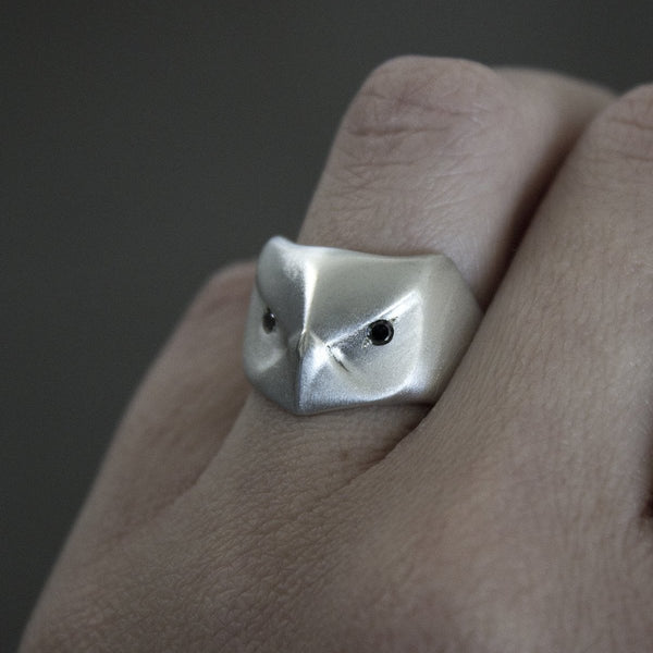 ___ Jewelry Black Diamond Great Horned Owl Ring
