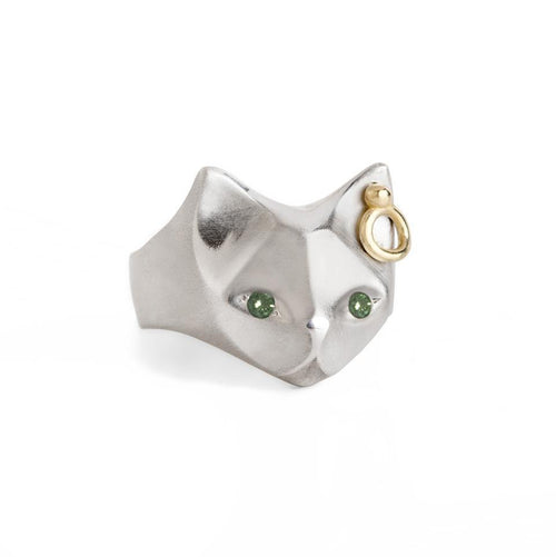 ___ Jewelry Cat Ring with Green Diamonds & Ear piercing