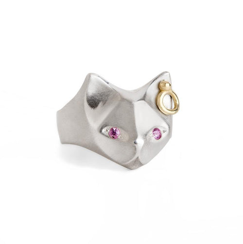 ___ Jewelry Cat Ring with Pink Sapphire Eyes & an Ear piercing
