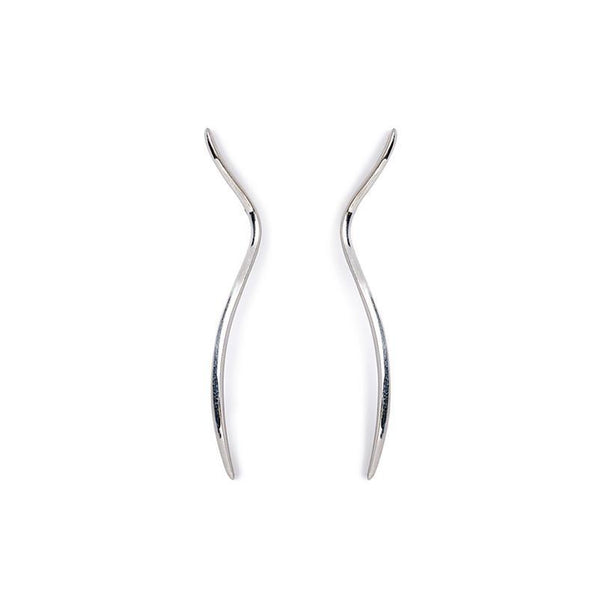 ___ Jewelry Flowing Line Silver Earrings